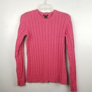 Eddie Bauer 100% Cotton Pink Cable Knit Sweater